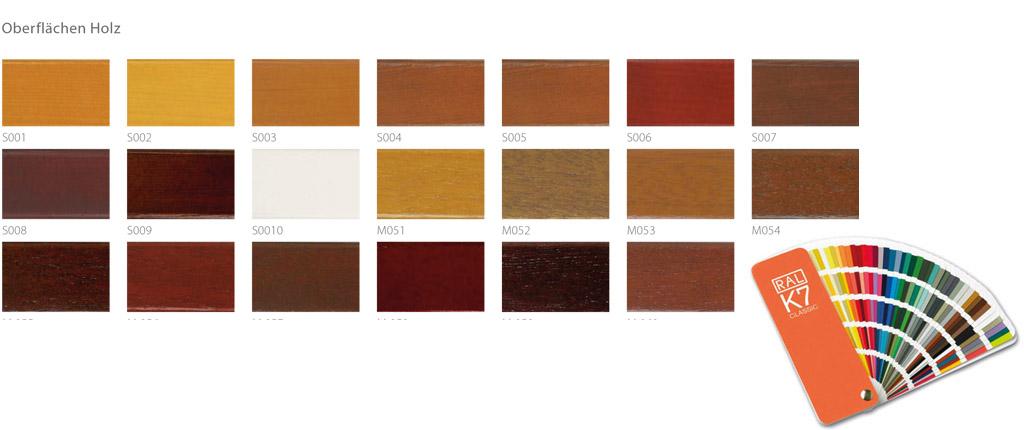 Aaragon Bauelemente Holzfarben